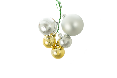 Shiny and Matte Silver and Shiny Gold Ball Ornament Clusters Lee Dispay