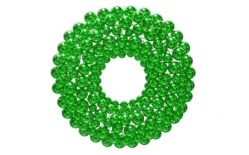 Green Ball Ornament Christmas Wreaths!    We use our shatterproof Shiny Green Ball Ornaments and attach them to a lightweight steel wreath frame.  Ball Ornament Wreaths are lightweight and ready to be hung on your wall.