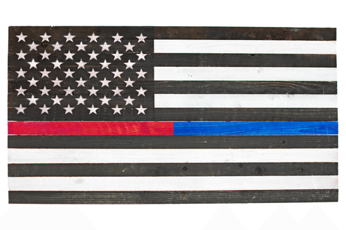 Hand-Made Wooden American Flags from Lee Display -  Decorate for the 4th of July with American pride. Cover your walls with a flag that shows off your rustic home decor honoring your fellow firefighters & police law enforcement.