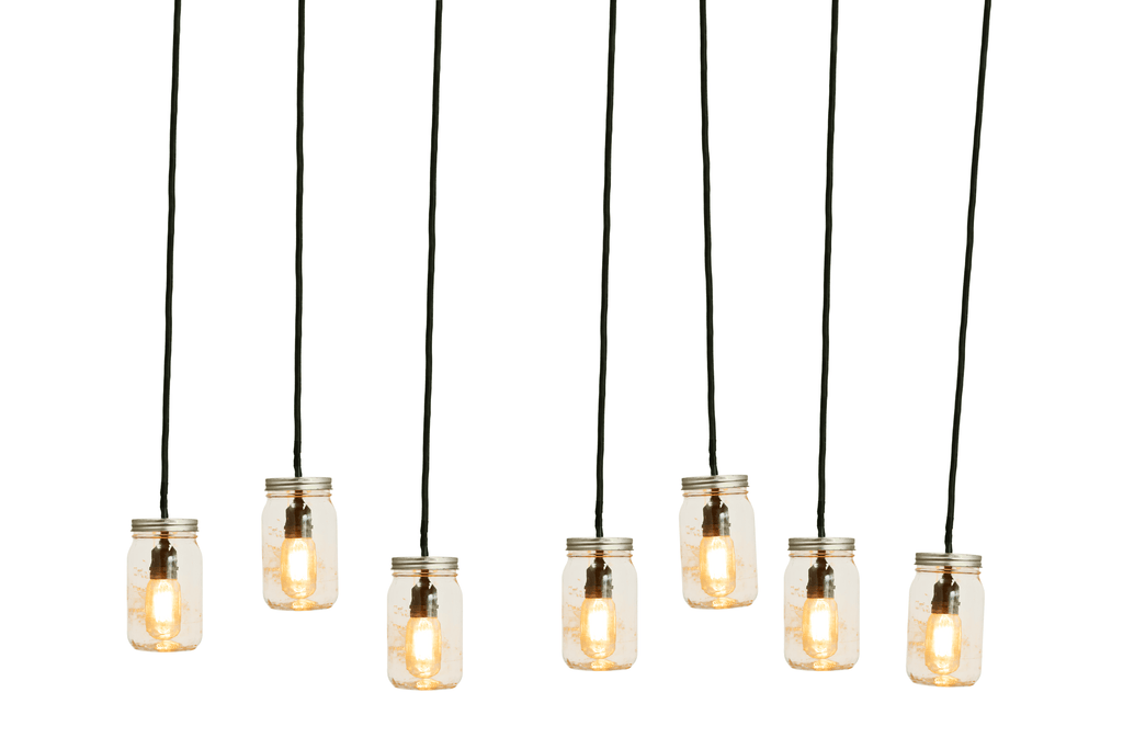 Introducing Lee Display's home-made Mason Jar Pendant Lights    Manufactured and custom made in the USA by Lee Display.