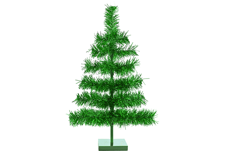 24in Metallic Green Tinsel Christmas Tree with Wood Base Stand Included sold by Lee Display