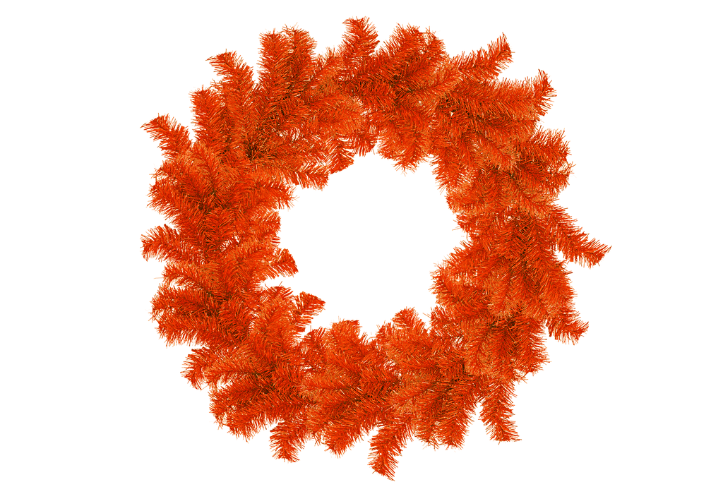 18IN Shiny Orange Tinsel Halloween Wreaths!    Decorative 18in Diameter door hanging wreaths made by Lee Display.