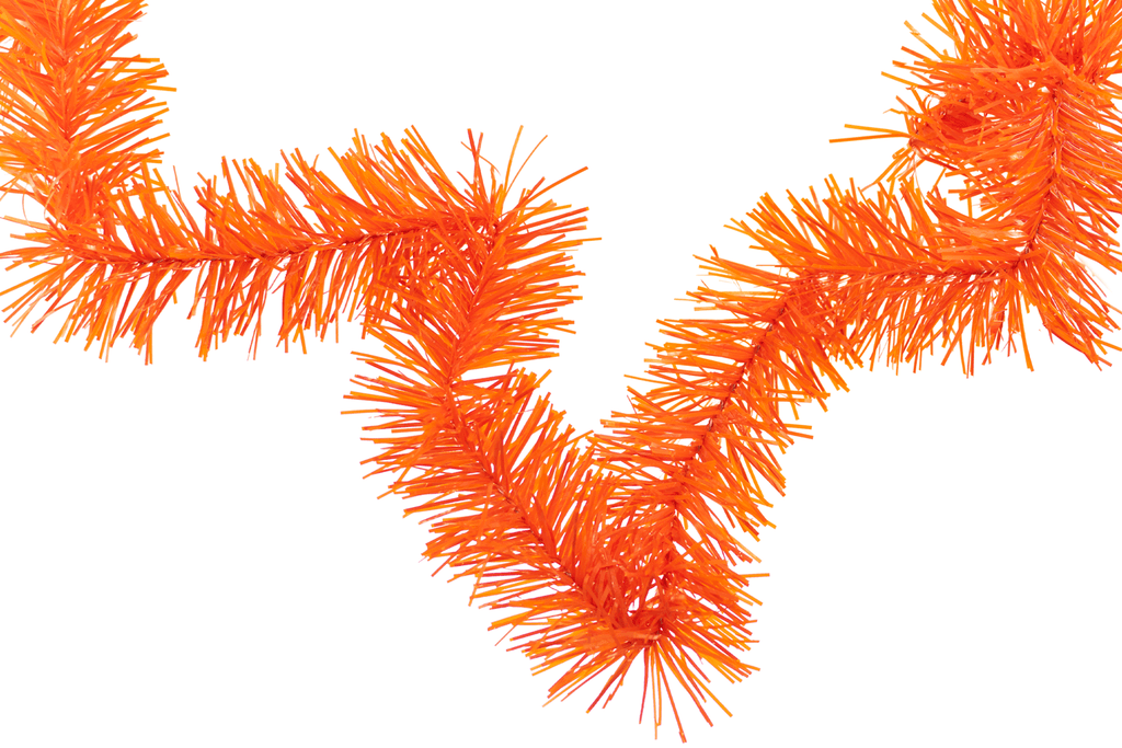 Orange Tinsel Garland Holiday Foliage Made by Lee Display