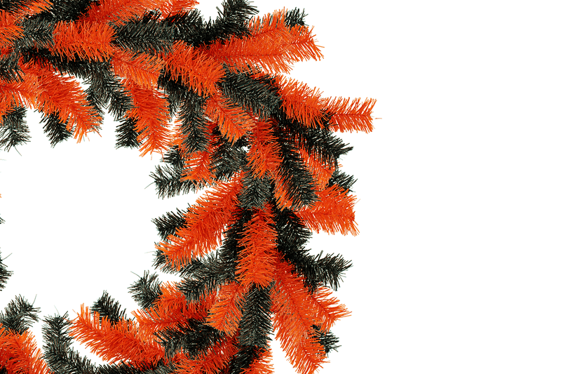 Orange and Black Tinsel Halloween Wreaths