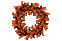 18IN Shiny Orange and Black Tinsel Halloween Wreaths!    Decorative 18in Diameter door hanging wreaths made by Lee Display.