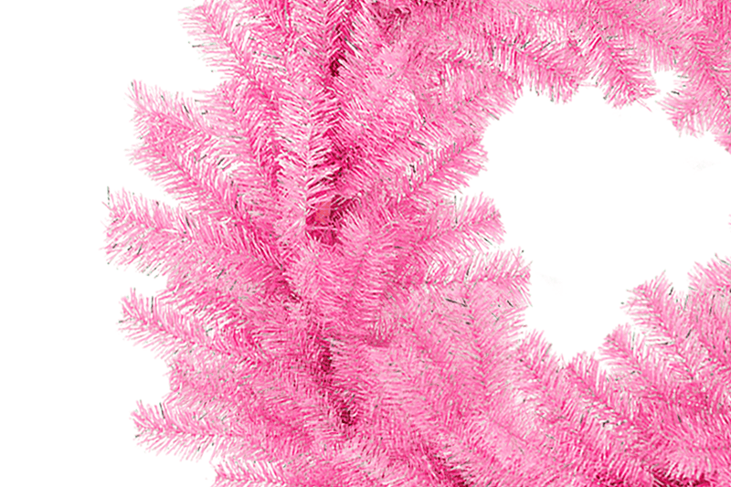 Pink and Silver Tinsel Christmas Wreaths