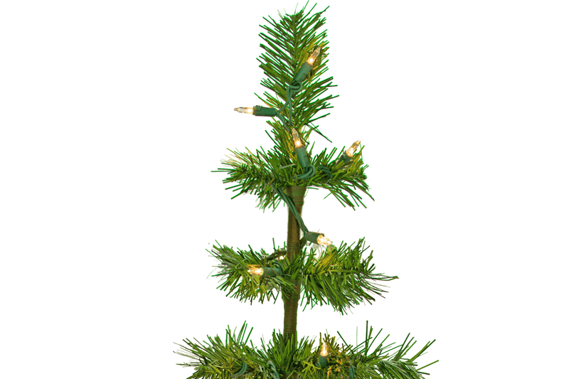 Pre-Lit Alpine Green Tinsel Christmas Tree with Clear Christmas String Light Bulbs Lee Display