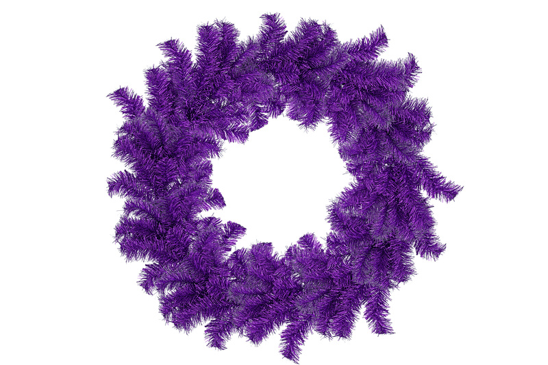18IN Shiny Purple Tinsel Christmas Wreaths!    Decorative 18in Diameter door hanging wreaths made by Lee Display.