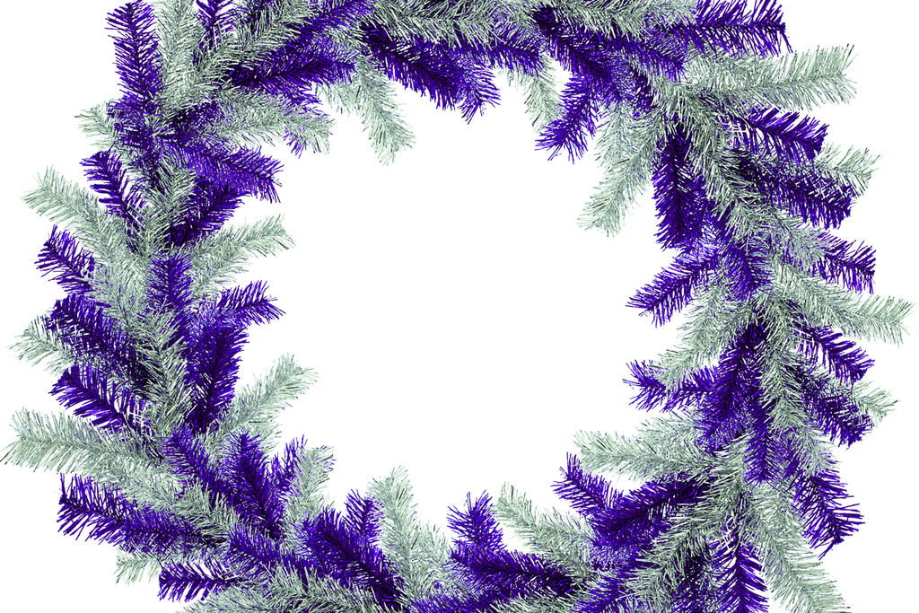 Purple and Silver Tinsel Christmas Wreaths