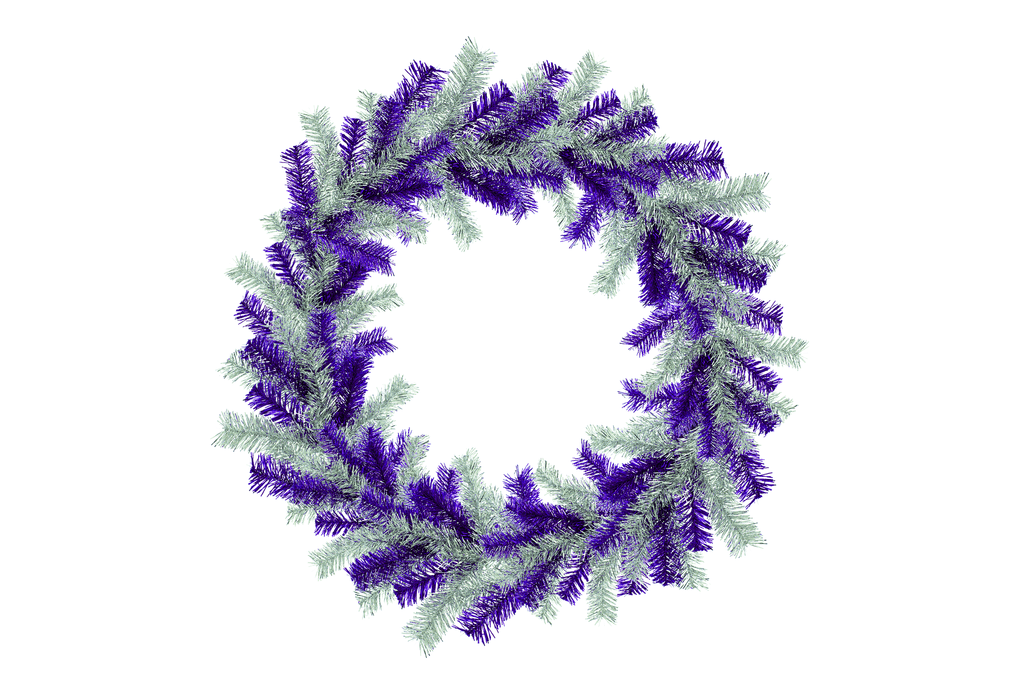 18IN Shiny Purple and Silver Tinsel Christmas Wreaths!    Decorative 18in Diameter door hanging wreaths made by Lee Display.