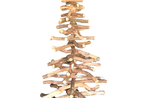 Real Birch Branch Wood Christmas Tree made by Lee Display - Closeup of the middle section