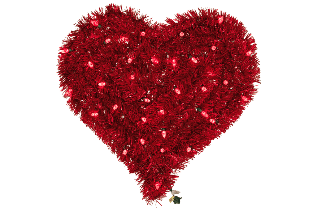 Red Tinsel Valentine's Day Heart Pre-Lit with Red LED Lights made by Lee Display