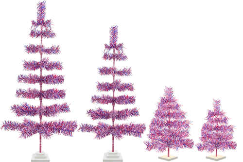 Red White and Blue Buffalo Bill colored Christmas Trees sold by Lee Display All Sizes
