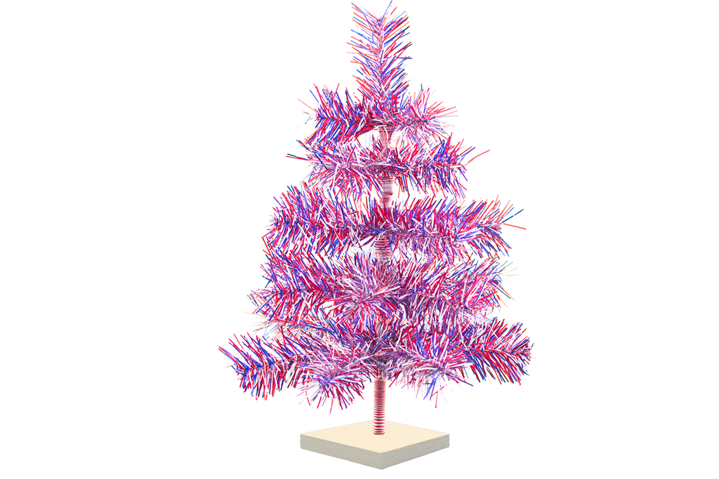Red White and Blue 4th of July Christmas Trees with Firework Style Branches and white wooden Base made by Lee Display