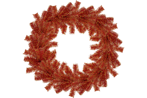 18IN Shiny Red and Gold Tinsel Christmas Wreaths!    Decorative 18in Diameter door hanging wreaths made by Lee Display.