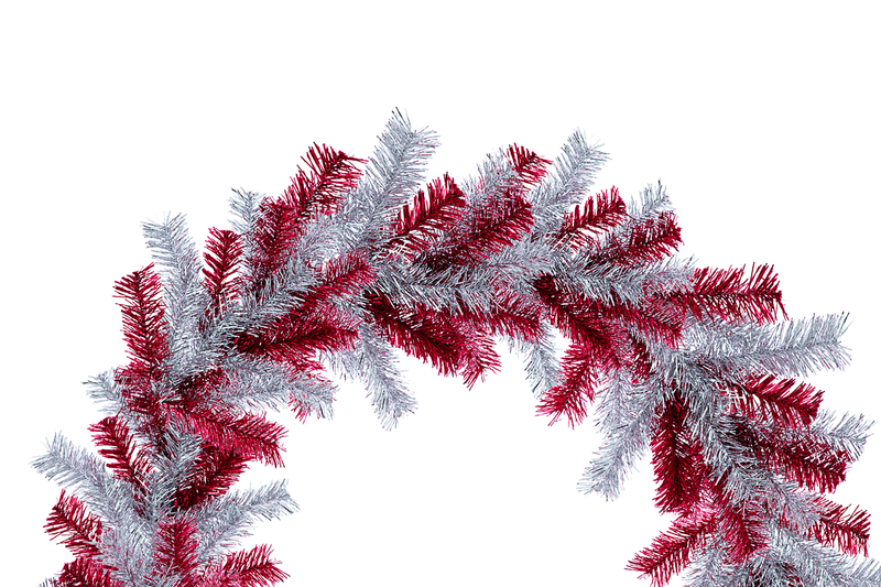Red and Silver Tinsel Christmas Wreaths