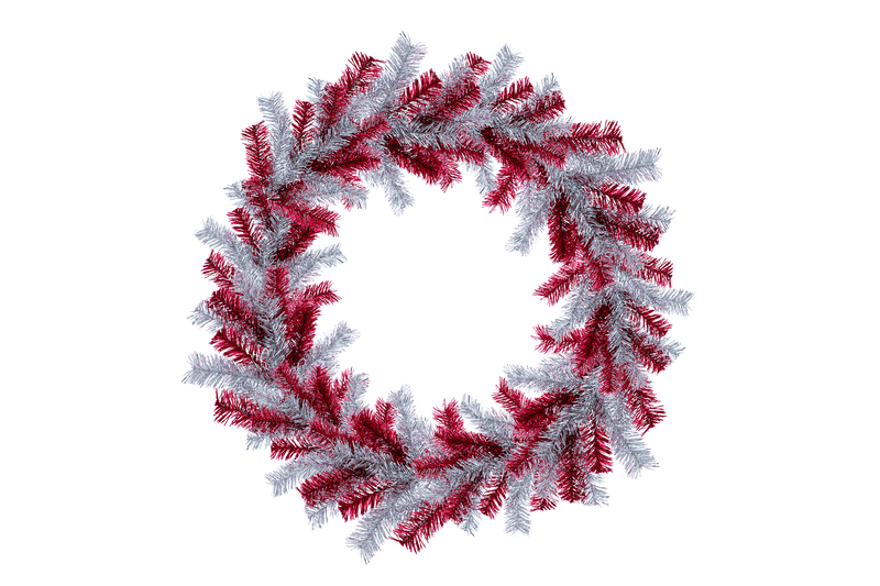 18IN Shiny Red and Silver Tinsel Christmas Wreaths!    Decorative 18in Diameter door hanging wreaths made by Lee Display.