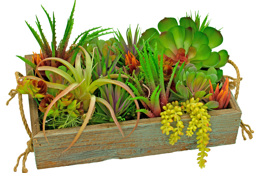 Artificial Succulent Planter Boxes made from Lee Display.  A brand new item from Lee Display for your summer garden decor.  Wooden Planter boxes filled with artificial succulent plants!  Floral boxes are decorative and stylish - fits into your country farmhouse style with natural elements.