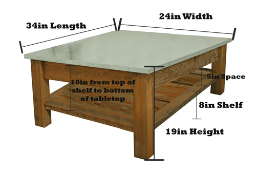 Dimensions of Lee Display's Rustic Redwood Coffee Table on Sale now