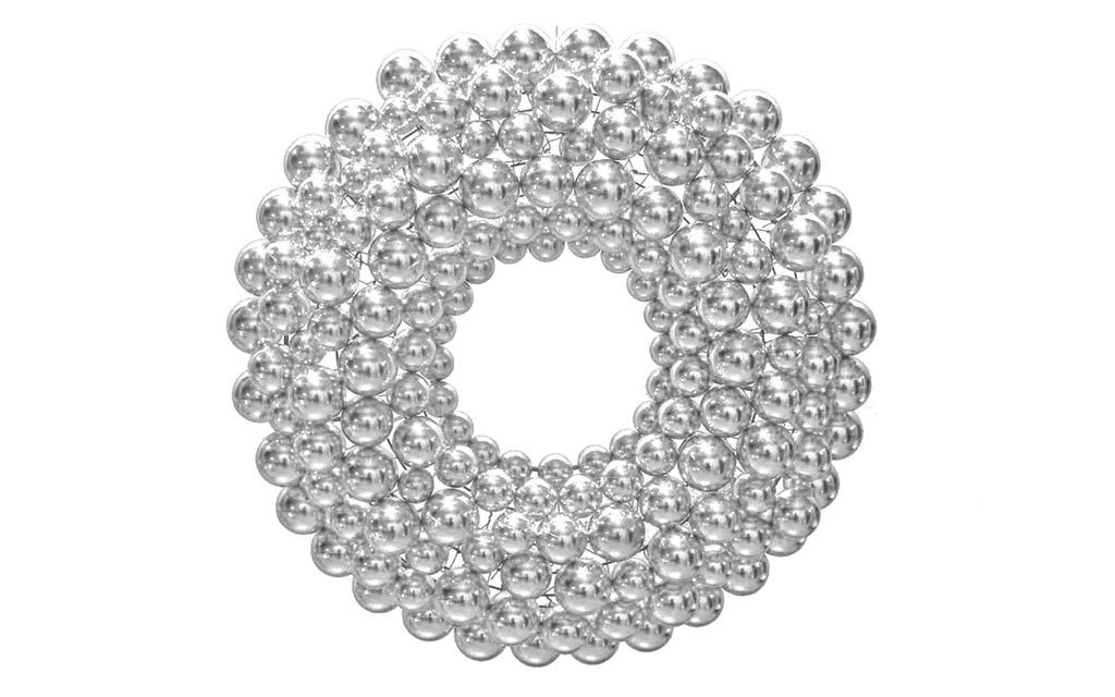 Silver Ball Ornament Christmas Wreaths!    We use our shatterproof Shiny Silver Ball Ornaments and attach them to a lightweight steel wreath frame.  Ball Ornament Wreaths are lightweight and ready to be hung on your wall.
