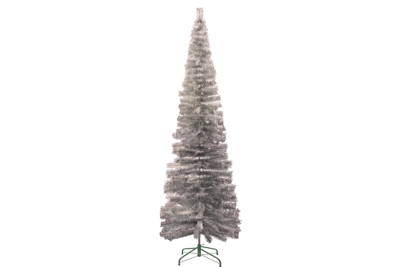 Large 10FT Silver Tinsel Christmas Trees made and sold by Lee Display