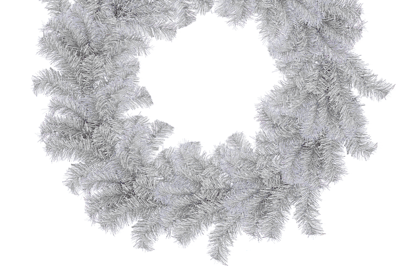 Silver Tinsel Christmas Wreaths