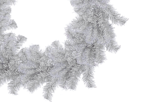 Silver Tinsel Christmas Wreath 18in Diameter