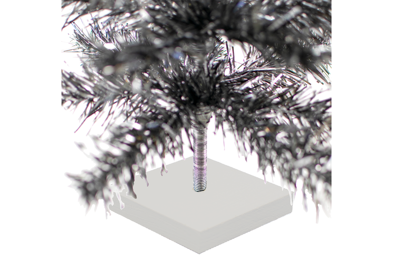 24in Silver and Black Christmas Tree made by Lee Display with Silver Base