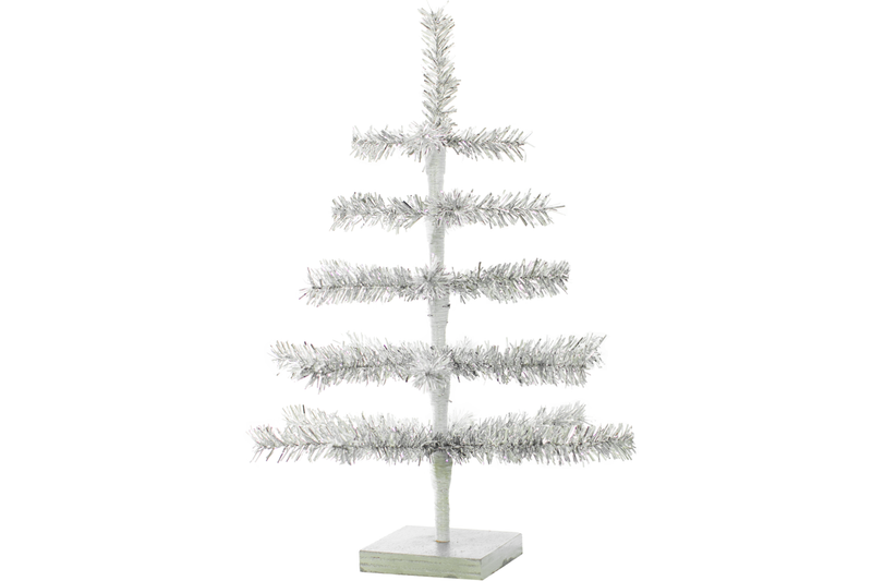 18in Silver Tinsel Tree w/ Thin Brush