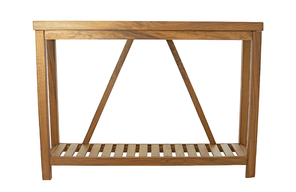 Lee Display's Walnut Entry-Table Product Listing.  Lee Display manufactures this gorgeous entry-table to fit perfectly into your home's hallways and walkways while conveying a rustic farmhouse style and naturally organic aesthetic.