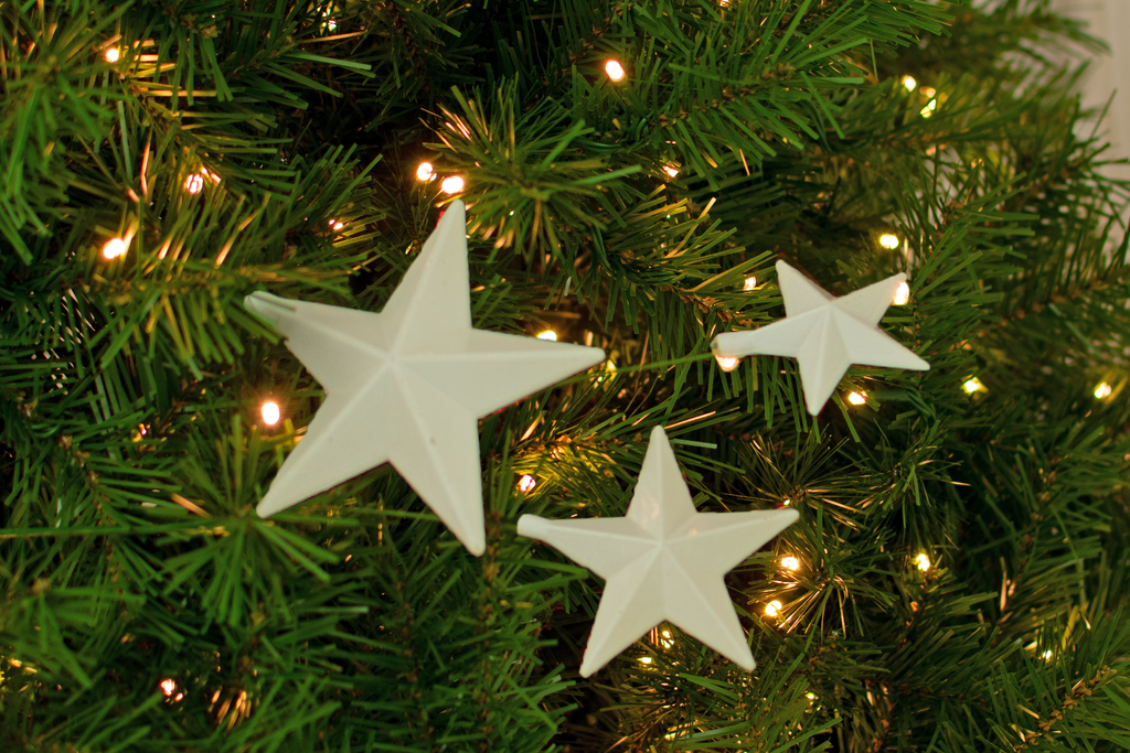 White Christmas Star Picks decorations sold in a pack of 6 for your Christmas Tree from Lee Display