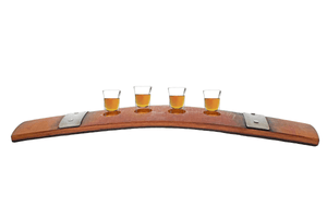 Lee Display wine barrel stave tequila shot glass holder serving tray bourbon barrel shot glasses