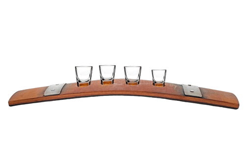 Lee Display wine barrel stave shot glass holder serving tray bourbon barrel shot glasses