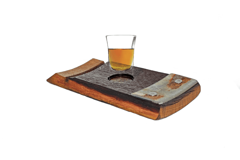 Lee Display single wine barrel stave tequila shot glass holder serving tray bourbon barrel shot glasses