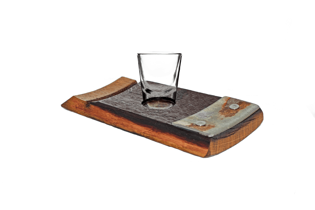 Lee Display single wine barrel stave shot glass holder serving tray bourbon barrel shot glasses