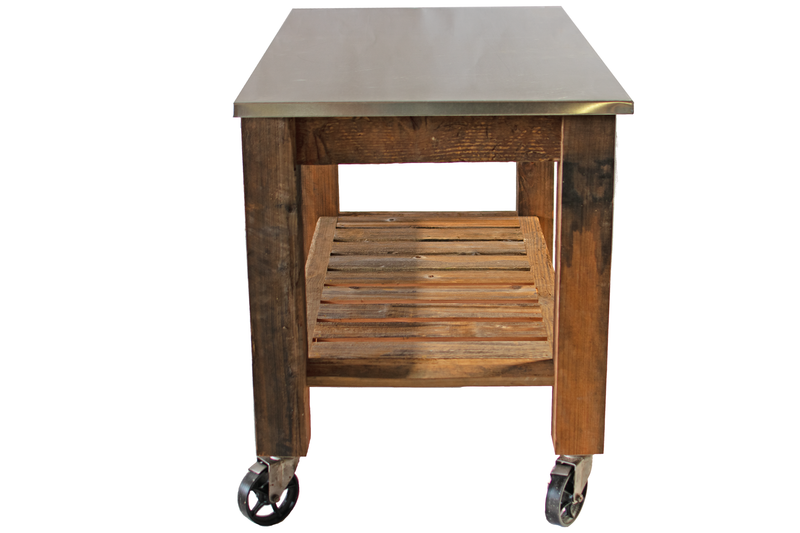 Lee Display's Redwood Rolling Cart with Swivel Cast Iron Casters on sale for $550 - Side Angle View