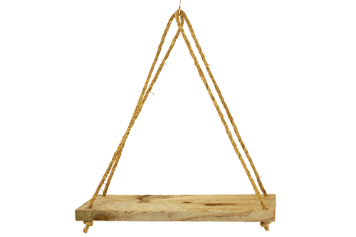 Lee Display's handmade rustic Rope Hanging Wooden Shelf on sale