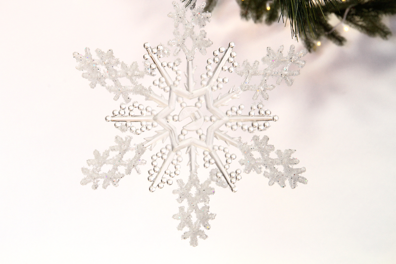 Cyrstal clear and glittered Acrylic Snowflakes sparkle in the light while hanging from your Christmas Tree branches.  Each snowflake comes with a thin deco mesh ribbon to easily hang from your tree branch, attach to a holiday garland, or dangle from the roof.