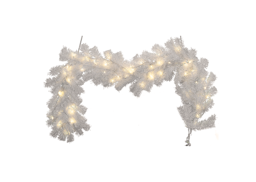 Lee Display All Products Pre-Lit White Christmas Garland