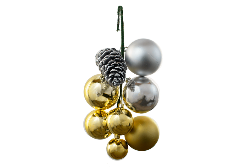 Lee Display Ball Cluster Gold Silver Ball Pine Cone Cluster