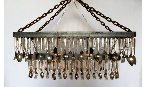 Lee Display Chandelier Antique Silver Spoon, Fork, & Crystal Chandelier