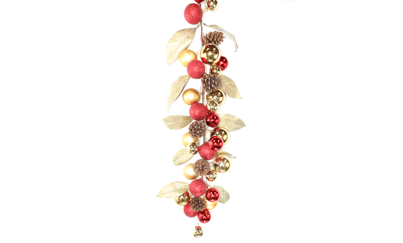 Lee Display Garland Gold Magnolia Leaf Ball Garland