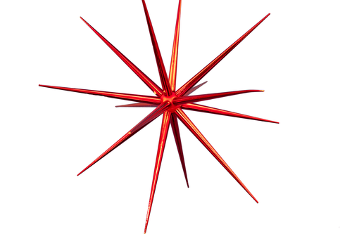 8in Red Christmas Starburst Ornament decorations sold by Lee Display