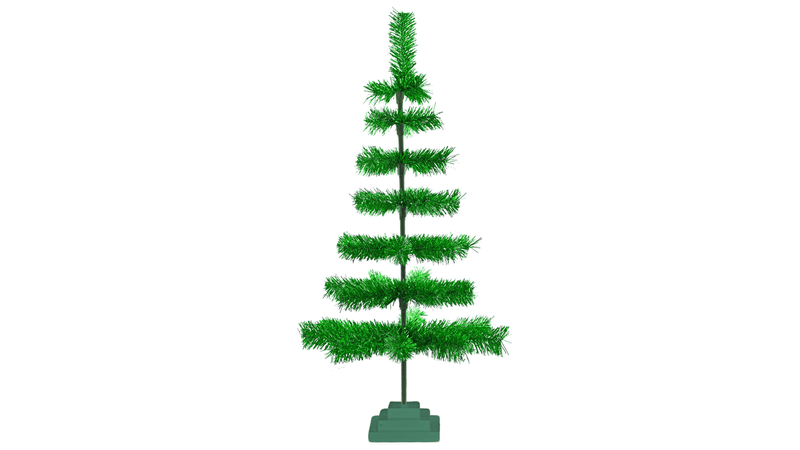 3FT Metallic Green Tinsel Christmas Tree with Wood Base Stand Included sold by Lee Display