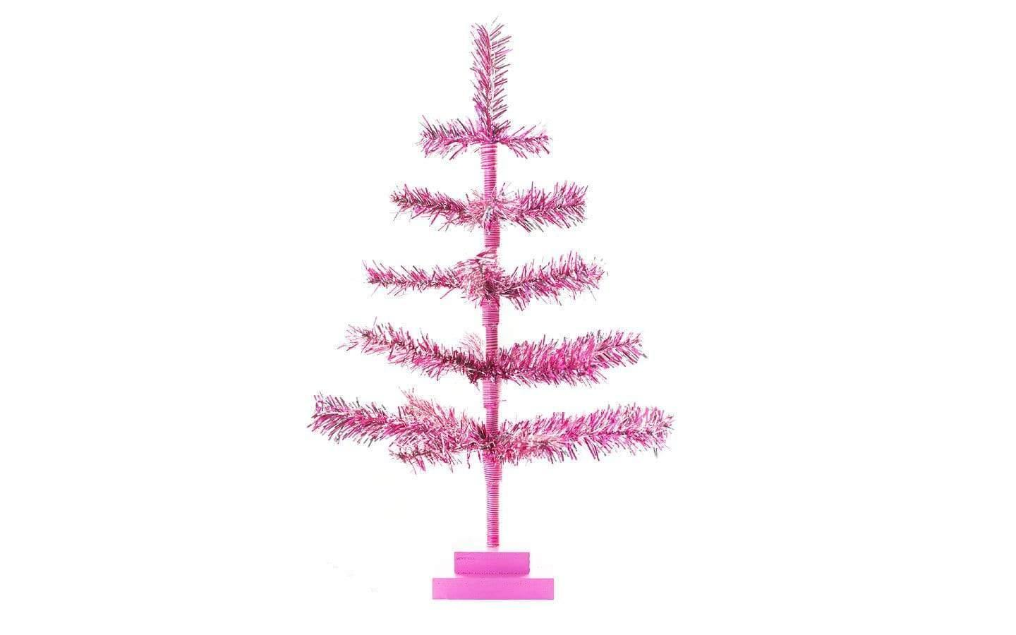 Pink Silver Christmas Trees Tinsel Branches Tabletop Decor Lee Display