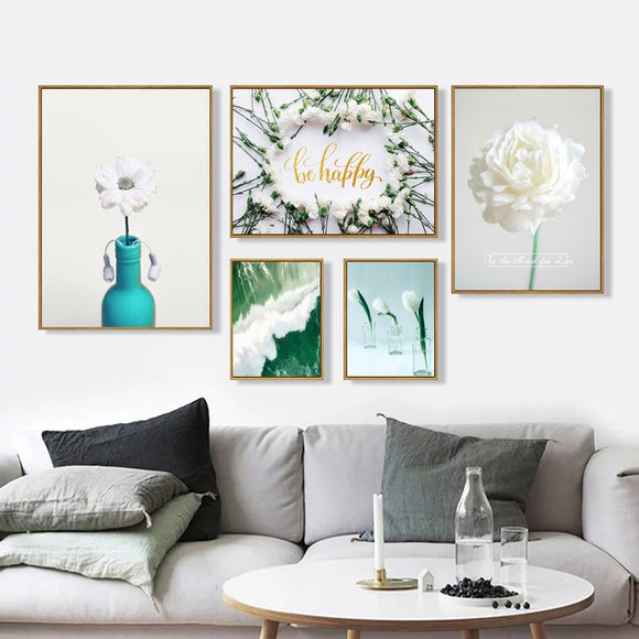 White flowers canvas print - evasdecor.com