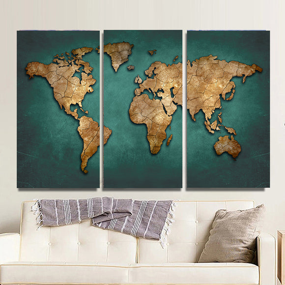 Golden world map, 3 pcs. - evasdecor.com