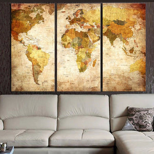 Vintage world map canvas print, 3 pcs. - evasdecor.com