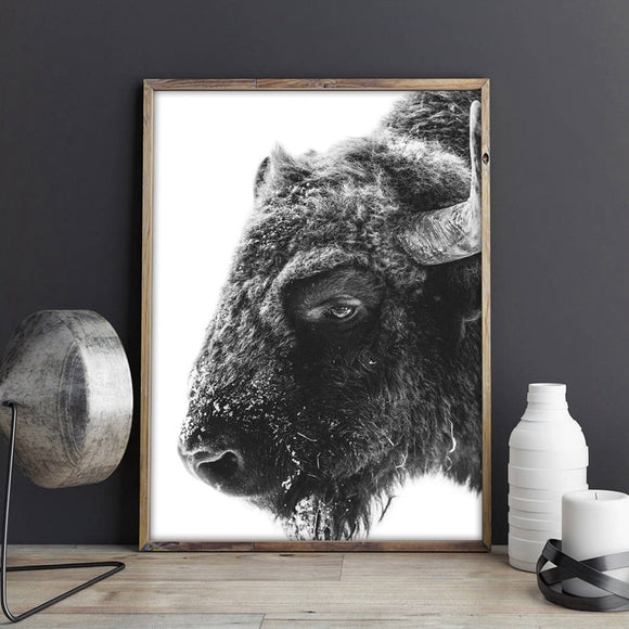 Buffalo wall canvas art - evasdecor.com