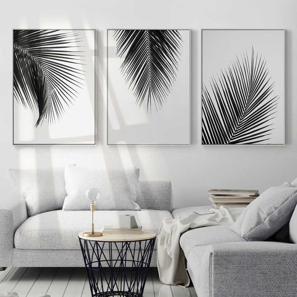 Black & white leaves canvas print - evasdecor.com